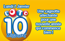 Resultat loto : une cagnotte à 10 millions d'euros pour le lundi 7 janvier 2013