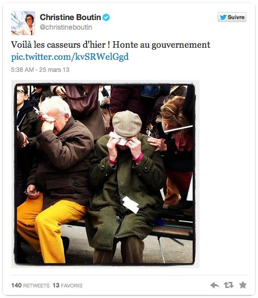 photo à l'appuie, Christine Boutin joue la carte des victimes pour les manifestants de dimanche 24 mars