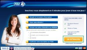 La page d'inscription pour jouer à la loterie en ligne